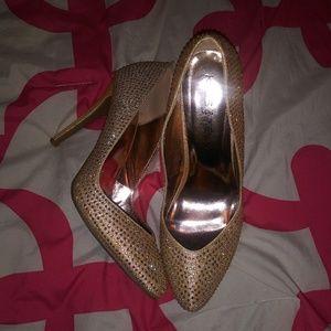Gold bling heels
